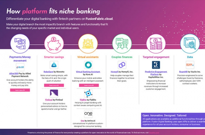 Tablet screen with Images of how platform fits niche banking